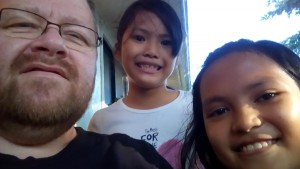 Bob with two of our granddaughters - KC and Sharmaine
