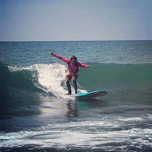 My granddaughter's first day of surfing