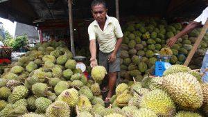 Durian seller in Bankerohan Market, Davao